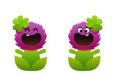 微笑动画片的花两个类型桃红色 免版税图库摄影