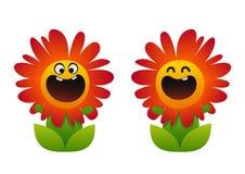 微笑动画片的花红色两个的类型 免版税库存照片