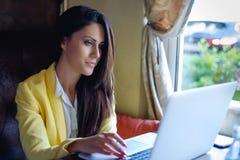微笑和使用膝上型计算机的女实业家 库存照片