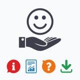 微笑和手标志 棕榈举行愉快的面孔标志 免版税库存照片