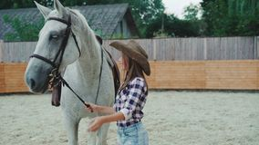 微笑和爱抚她的在区域的年轻愉快的女孩相当白马 4K 影视素材
