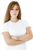 微笑和端庄的妇女反对白色背景 免版税库存照片