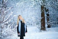 微笑和走在街道的美丽的女孩 美好的多雪的冷的冬天 假日心情 图库摄影