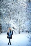 微笑和走在街道的美丽的女孩 美好的多雪的冷的冬天 假日心情 免版税库存图片