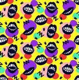 微笑嘴唇手拉的无缝的传染媒介样式 免版税库存图片