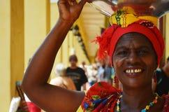 微笑在哥伦比亚的Palenquera妇女 库存照片
