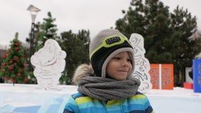 微笑在圣诞树背景的男孩  冬天 股票录像