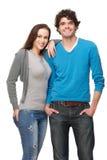 微笑在工作室的男朋友和女朋友 库存照片