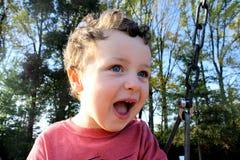 微笑在摇摆的小男孩 免版税图库摄影