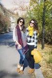微笑在秋天山的两名被装备的妇女 库存图片