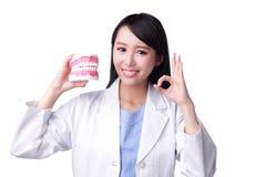 微笑妇女牙医医生 免版税图库摄影