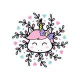 微笑婴孩独角兽有花卉坛场背景 库存例证