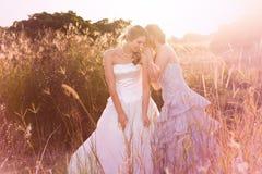 微笑对年轻人的新娘听的秘密 免版税库存照片