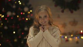 微笑对照相机X-mas装饰的可爱的女孩闪耀后边,梦想 影视素材