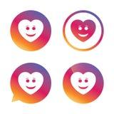 微笑心脏面孔象 兴高采烈的标志 免版税库存图片
