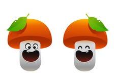微笑快乐的蘑菇两个类型 免版税库存照片