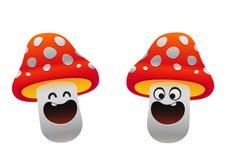 微笑快乐的蘑菇白色两个的类型红色和 库存图片