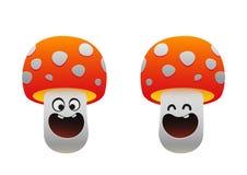 微笑快乐的蘑菇红色两个的类型 免版税库存照片