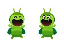 微笑快活的绿色的甲虫两个类型 库存照片