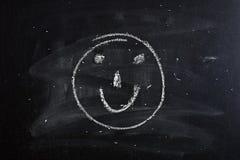 微笑标志(面带笑容)在黑板 免版税库存照片