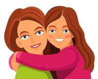 微笑母亲的女儿拥抱和 免版税库存图片