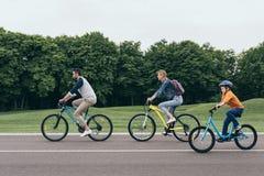 微笑父母和小的儿子骑马在公园一起骑自行车 免版税库存图片