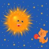 与球的太阳和小猫 免版税库存图片