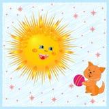 太阳和小猫 免版税库存图片