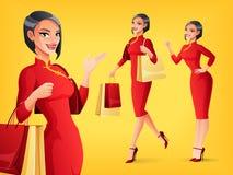 微笑的中国妇女用不同的姿势 动画片重点极性集向量 库存照片