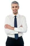 微笑的中部年迈的商业主管 库存照片