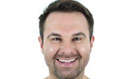 微笑的中部年迈的人面孔 股票视频