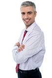 微笑的中部年迈的商人 图库摄影