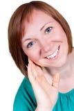 微笑的中部年迈的妇女 免版税图库摄影