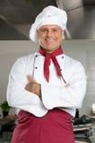 微笑的主厨 库存图片