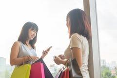 微笑的亚裔妇女运载的购物带来 库存图片