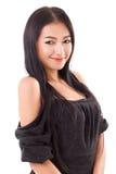 微笑的亚裔妇女画象  库存照片