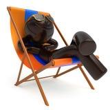 微笑的人休息海滩轻便折叠躺椅sunglass暑假 向量例证
