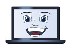 微笑的便携式计算机 库存照片