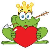 微笑的公主Frog Cartoon与拿着爱心脏的冠和箭头的Mascot Character 库存例证