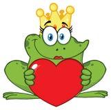 微笑的公主Frog Cartoon与拿着爱心脏的冠的Mascot Character 皇族释放例证