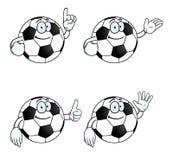 微笑的动画片橄榄球集 库存例证