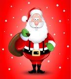 微笑的动画片圣诞老人例证问候 图库摄影