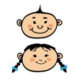 微笑的动画片男婴和女孩 免版税库存照片