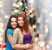微笑的十几岁的女孩拥抱 库存图片