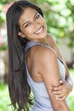 微笑的印地安亚裔少妇女孩 库存照片