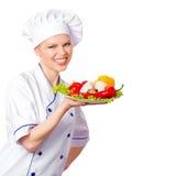 微笑的厨师妇女 免版税库存照片