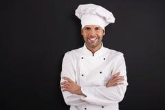 微笑的厨师画象  库存图片