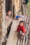 微笑的地方不丹孩子 免版税图库摄影