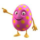 微笑的复活节彩蛋,滑稽的3D漫画人物,显示手 向量例证