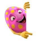 微笑的复活节彩蛋,滑稽的3D漫画人物 库存图片